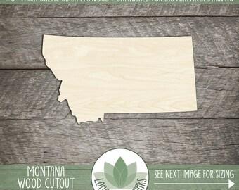 Montana, Unfinished Wood Montana Laser Cut Shape, DIY Craft Supply, Many Size Options, Blank Wood Shapes