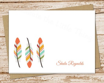 feathers personalized stationery . note cards notecards . tribal feathers . folded stationary . set of 8