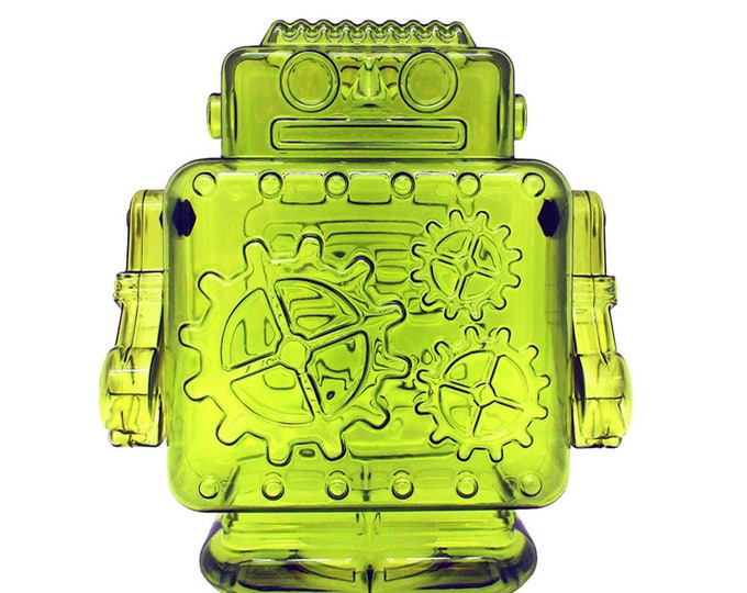 Robot Coin Bank made of molded green plastic, perfect gift for kids of any sci fi lover.