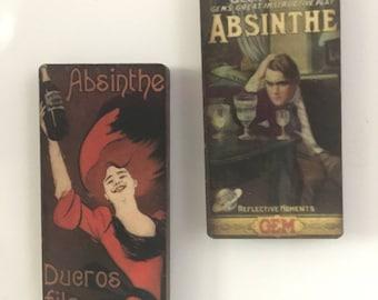 Set of 2 Vintage wooden Absinthe Liquor ads Magnets
