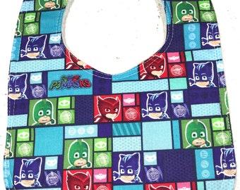 PJ Masks Baby Bib - Infant Bib - Dribble Bib - Baby Shower Gift - cartoon - catboy - owlette - gekko
