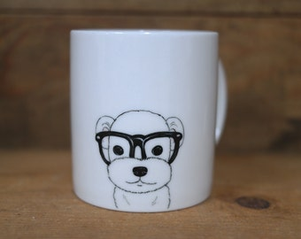 Hand painted animal mug cup - Cute mug cup -Maltese dog mug cup