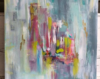 Abstract painting acrylic painting original abstract blues and pinks wall art