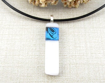 Dichroic Glass Pendant - Blue and White Fused Glass Necklace - Thin Dichroic Glass Pendant - Blue and White Glass Jewelry - Dichroic Jewelry