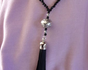 18 inch Black Agate and Bali style pewter focal with tassel