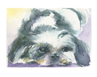 Watercolor Shih Tzu, Shih Tzu Print, Shih Tzu Art, Dog Art , Dog Portrait