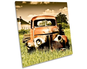 Rusty Old Abandoned Farm Truck CANVAS WALL ART Square Print