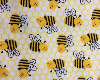 One 31 Inch Piece of Fabric -  Honeycomb Bee FLANNEL