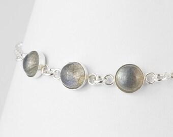 Labradorite Gemstone Bracelet, Sterling Silver Bracelet, Dainty Bracelet, Unusual Jewellery, Healing Crystals, Handcrafted Jewellery