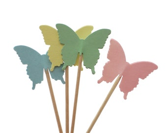 24 Pastel Butterfly Cupcake Toppers, Fairy Party Decorations, Garden Party, Baby Shower Decorations, Birthday Cupcakes - No305