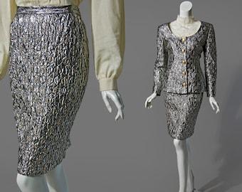 80s silver two-piece jacket & skirt set   size medium