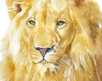 Lion Watercolor Painting - 11 x 14 - Giclee Print - Fine Art Print - African Animal - Nursery Art