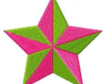 2 Color Star Machine Embroidery Design Single