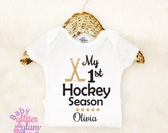 Baby Girl Hockey, My First Hockey Season, Baby Girl Clothes Outfit, 1st Hockey Season, Baby Hockey Outfit, Crawl Walk Hockey, I Love Hockey