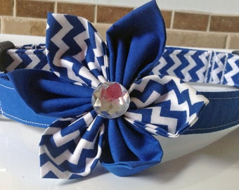 Blue & White Chevron Flower Collar for Girl Dogs and Cats