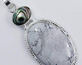 White Howlite & Abalone Shell Multi Gemstone .925 Silver Pendant Size 2Inches Long Jewelry