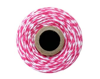 Hot Pink and White Bakers Twine - Sorbet Twist - 240 Yard Spool