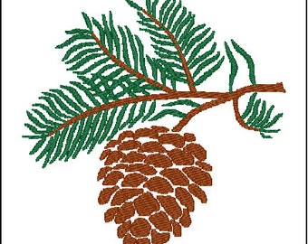 Pinecone Pine Tree Embroidery Design