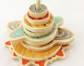 Wooden stacking toy -  solar system stacker - educational gift -christmas gifts -gift for kids -solar system toy-wooden stacker-toddler toy