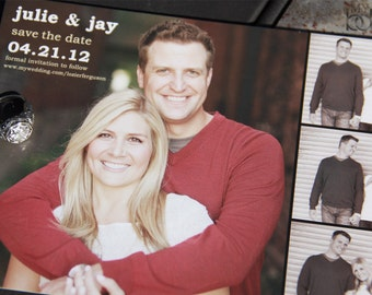 Multi Photo Save the Date card or popst card. Film strip save the date. Four photo save the date