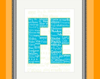 Fe ... a beautiful message Poster Christian Faith in different languages A4 Ready to download and print