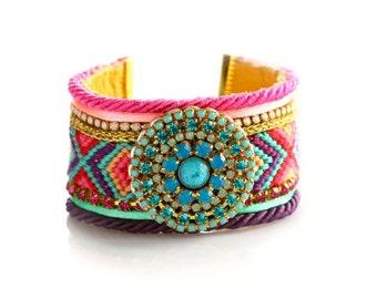 Friendship bracelet,Gift for her,Coachella,Native American Style Friendship Cuff,Swarovski Bracelet,bohemian indian gypsy style,Ethnic boho