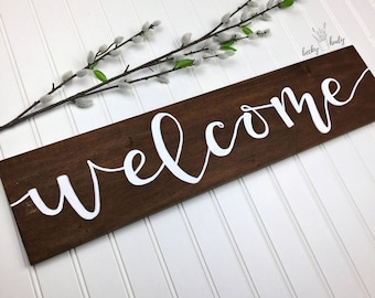 Welcome | Modern Rustic Wood Sign