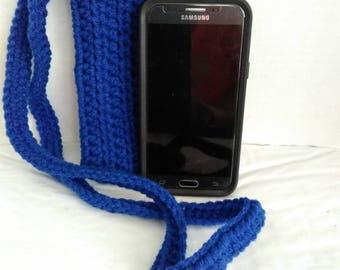 Blue crochet cross body cell phone pouch case bag cozy