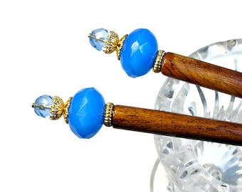 Sky Blue Hair Sticks, Blue Hairsticks, Hair Chopsticks, Sticks, Prom Accessories, For Messy Bun, PAIR