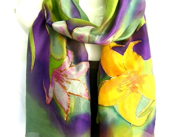 "Floral Silk Scarf, Lilies, Hand Painted Silk Scarf, Green Purple Multicolor, 71"" Long Scarf,  Silk Chiffon Scarf, Gift For Her"