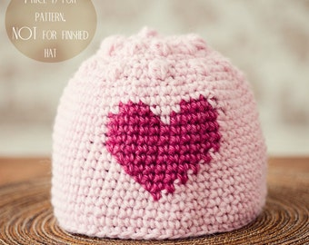 Instant download - Crochet hat PATTERN (pdf file) - Heart and Bobble Hat (sizes baby to adult)