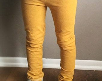 Solid mustard yellow cotton leggings • Childrens leggings • Made to order