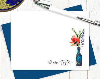 Personalized Note Card Set - set of 12 flat note cards - poppy flower card - choose envelope color - Watercolor Flowers in BLUE WINE BOTTLE