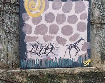 Tribal Hunt Giraffe Sun Cave Painting Hand Painted ART By Scott D Van Osdol On Reclaimed Wood Signed Artwork 8x8 Wall Shelf African Decor