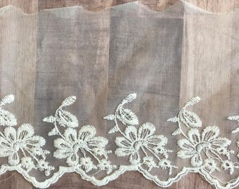 """OFF WHITE, 6"""" Wide, Embroidered Lace Trim, BTY By The Yard"""