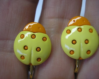 """Play Earring - Clip - Ladybug - Yellow/Orange - 5/8"""""""