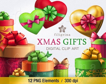 Christmas GIFTS digital clip art. 12 PNG elements. Birthday holiday Wrapped gift boxes, festive presents, bow, noel, heart. Read about usage