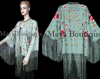 Embroidered Silk Fringe Jacket Flamenco Kimono SAGE Multi Maya Matazaro