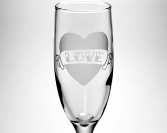 Tattoo Heart Champagne Flute - Love, True, Forever - choose your banner