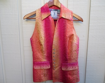 Todd Oldham 7 Times Seven Silk Vest, Orange and Pink Silk, Cotton Patchwork, 1980's, free usa shipping