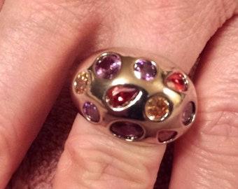 Amethyst, Garnet, Citrine Multi Gemstone Sterling Silver Filled Domed Ring, 5 ct.  Size - 6
