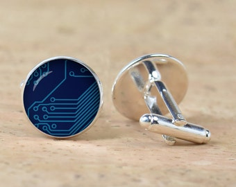Computer  Dark Blue Circuit Board  picture Cufflinks  Computer Geek Cuff links Nerd Accessories  Geek Gift
