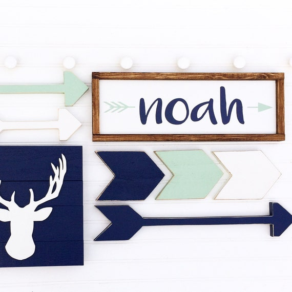 Woodland Adventure Nursery set . Woodland Nursery . Name Sign . Custom Baby Name Sign . Antler . Arrows . Chevrons Arrows. Nursery Set