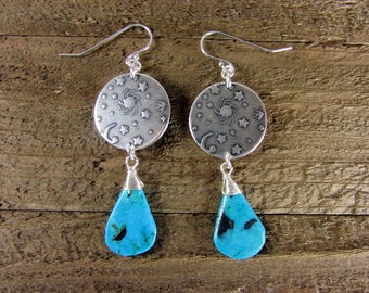 Turquoise Earrings, Sun, Moon & Stars Earrings, Sterling Silver Turquoise Jewelry, Astrological Dangles