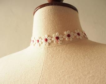 Lace Choker Necklace Red Floral Choker Sunflower Daisy Choker Necklace Boho Bohemian Gypsy Hipster Style