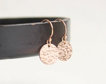 Tiny Rose Gold Earrings, Drop Earrings, Rose Gold Filled Hammered Earrings, Everyday Dainty Earrings, Round Disc Earrings