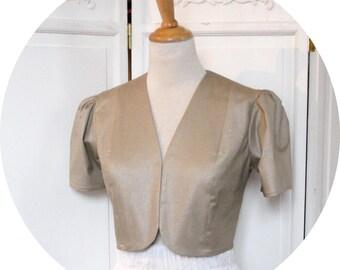 Short jacket in cotton Golden, Golden stretch-cotton, V-neck short jacket bolero has short sleeves