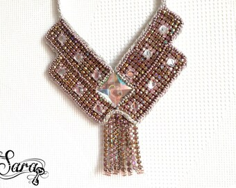 Geometric necklace, Blush pink necklace, Big statement necklace, Wearable art, Bling necklace, Haute couture, Costume necklace, Futuristic