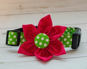 "Dog Flower Collar in Green and white polka dot print with Pink Flower ""The Petunia"""