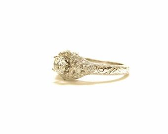14k white gold art deco/ art nouveau vintage inspired diamond engagement ring